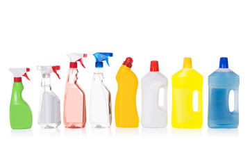 Cleaning liquid bottles in row