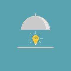 Silver platter cloche and yellow idea light bulb Flat