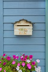 mailbox on wooden background