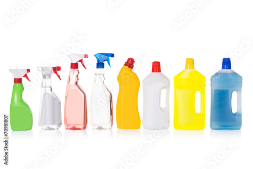 canvas print picture Cleaning liquid bottles in row