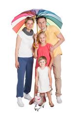 Insured Family Standing Under Umbrella
