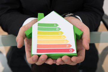 Businessman Showing Energy Efficient Chart On House Model