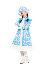 Playful brunette posing in snow maiden costume