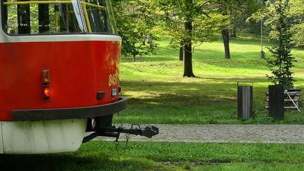 tram wait in the park (forest - trees) - sunny