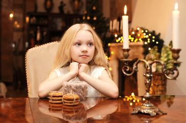 Christmas, celebration, holiday, xmas concept - cute child dream