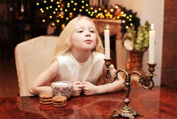 Christmas, celebration, holiday, xmas concept - cute child