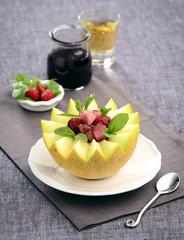 raspberry melon fruit salad