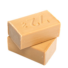 Two pieces of economic simple natural soap.