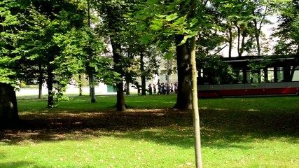passing tram in the park (trees) and group of children