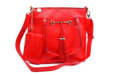 Red modern fashionable leather female bag.