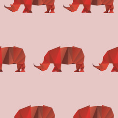 A seamless repeating pattern of a red rhino in a polygon style