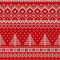 Winter Christmas Scandinavian Style Seamless Knitted Pattern