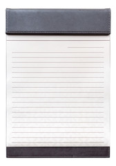 Blank notepad on the brown clipboard for memorandum.