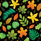 Seamless background with leaves 4