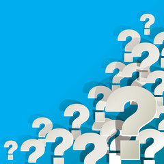 Fragezeichen Ecke unten rechts Hintergrund blau