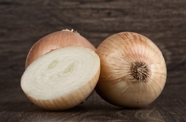 White onion on wood