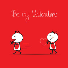 Cute card on valentine's day