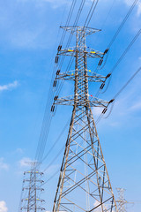 High voltage power pole and electricity line with blue sky backg