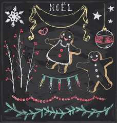 Vintage Christmas Chalkboard Hand Drawn Vector Set 6