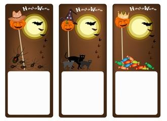 Set of Three Banners of Halloween Night