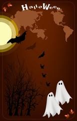 Two Happy Halloween Ghost on Full Moon Night