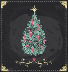 Vintage Christmas Tree Chalkboard Hand Drawn Vector Set