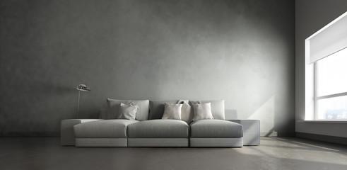 3d interior of big gray room