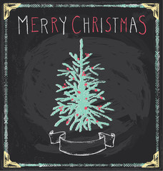 Vintage Merry Christmas Tree Chalkboard Hand Drawn Vector Set