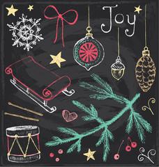 Vintage Christmas Chalkboard Hand Drawn Vector Set 4