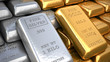 Silver ingot and  gold bullion. Finance illustration - 70986637