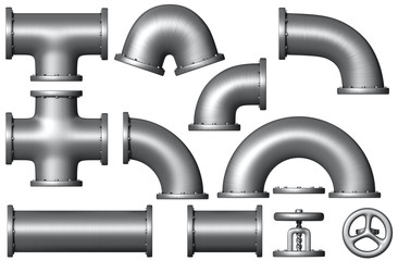 Different Metal pipe set. Industrial illustration.