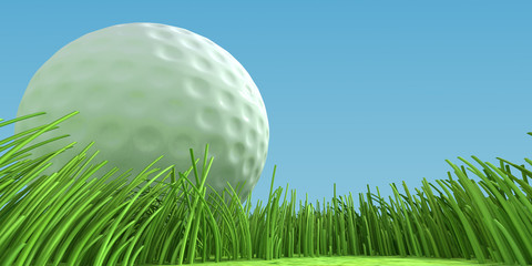 Closeup golfball on grass at game field. 3d illustration.