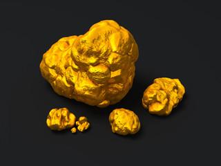 Closeup golden nuggets on black background. Finance illustration