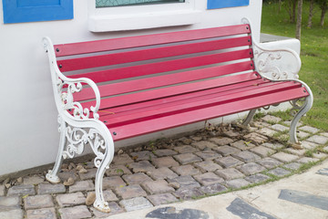 Red bench in the garden