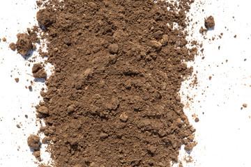 Light brown soil on white background