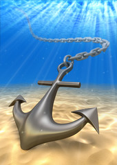 Underwater anchor and volume light. Travel 3d illustration