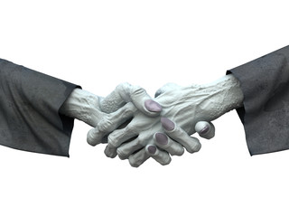 Zombie handshakes on white background. Horror 3d illustration