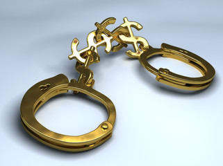 Handcuffs with chain made of dollar signs. Concept