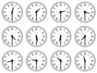 Orologi con numeri romani alla mezzora