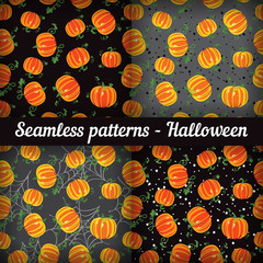 Halloween. Pumpkins. Set of seamless patterns. Vector