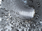 Fototapeta Perspektywa 3d - Tunnel made of metallic puzzles.  Conceptual 3d illustration, © Inok