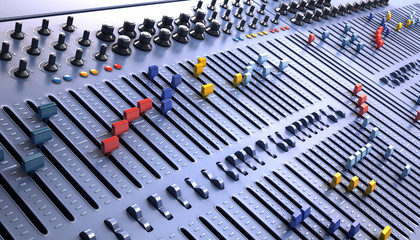 Fantasy Professional mixing console in studio. 3d illustration