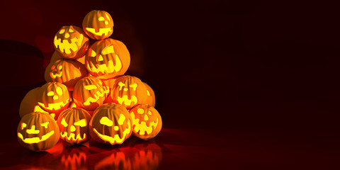 Halloween pumpkins. Holiday 3d illustration