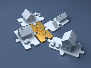 Metaphorical business puzzle. Economic illustration