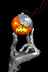Robotic Halloween pumpkin. Technology 3d illustration