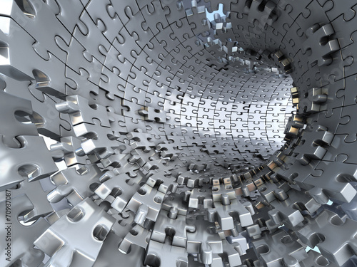 Fototapeta Tunnel made of metallic puzzles. Conceptual 3d illustration,