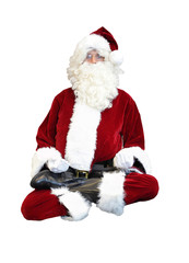 Santa Claus floating in lotus position on white background