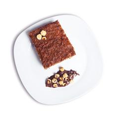 Sponge cake and hazelnuts.