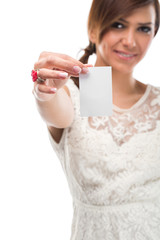 Pretty Young Lady Holding Small White Paper