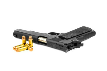 gun and ammo isolated on white